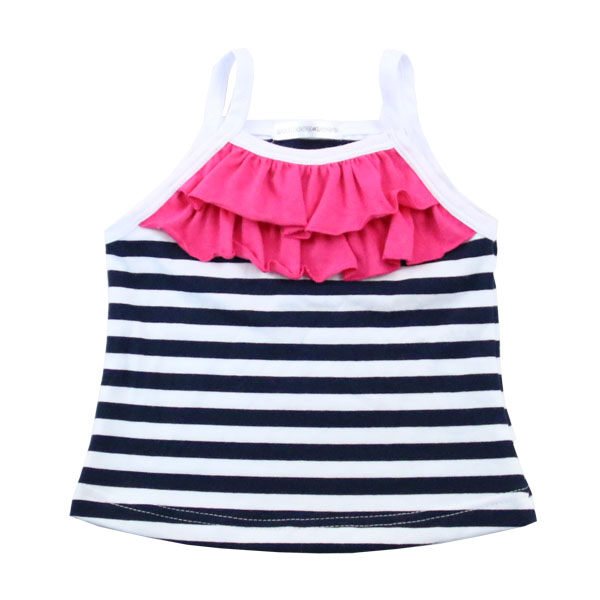 Breathable cotton little girls ruffle hammock kids clothing sleeveless summer baby girls cute bulk blank t shirts