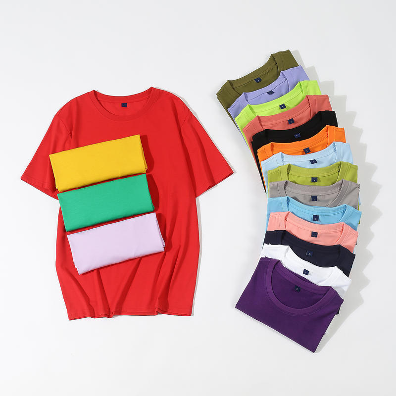 Cheap Promotional T - shirt for Sublimation Custom Logo Printed 65% cotton 35% poly-blended t shirt