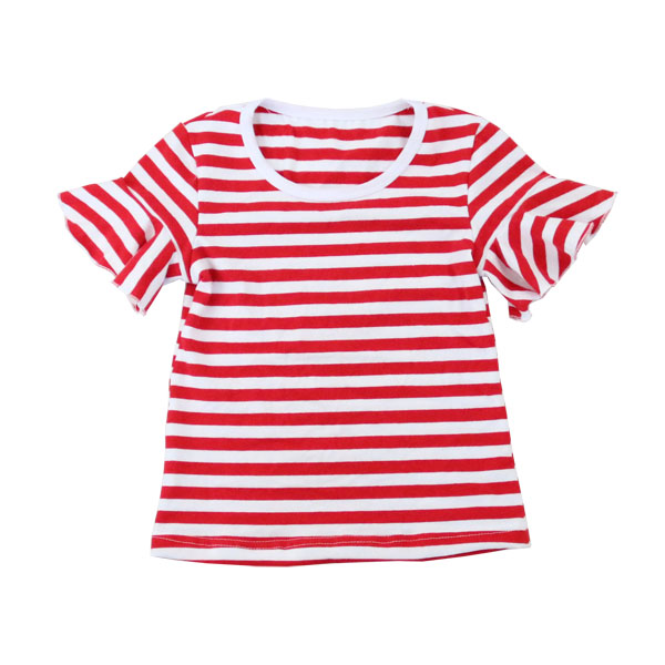 children apparel cotton stripe shirt kids clothing ruffle short sleeve o neck summer t shirt in bulk for little girls
