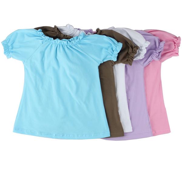 High quality kids clothes girls cotton short sleeve raglan ruffle summer little girls t shirt