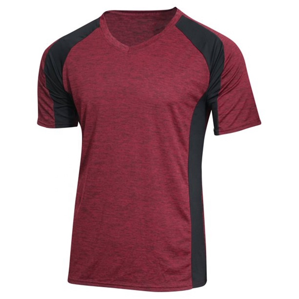 Quick dry t-shirt cut and sew apparel with color block tshirt color combination t shirt polyester fabrics for sport t shirts