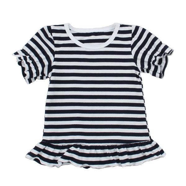 top fashion children apparel narrow cuff shirt kids clothing ruffle short sleeve summer baby girls t shirt in bulk