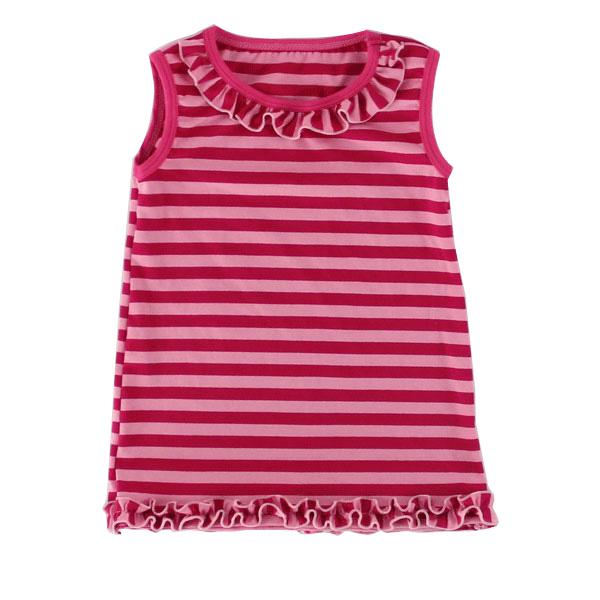 Wholesale cotton stripe children clothes ruffle collar underwaist kids clothing sleeveless summer t shirt for toddler girls