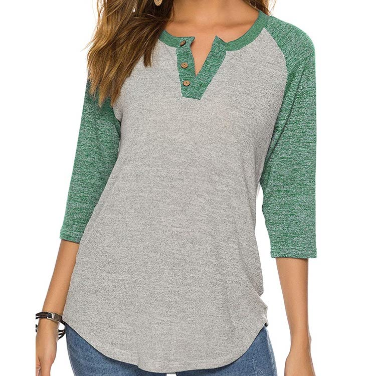 Women's Raglan Round Neck Summer Tops Ladies Basic Button Henley Shirt Boyfriend Style Blouse